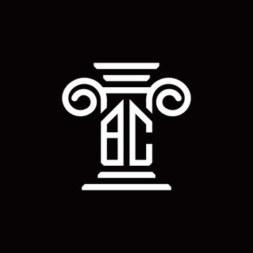 BC monogram logo with pillar style design template