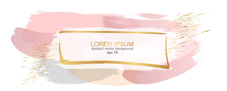Delicate pastel rose gold background. Abstract brush strokes of paint with a gold frame. Luxury background and frame for wedding and beauty salon.