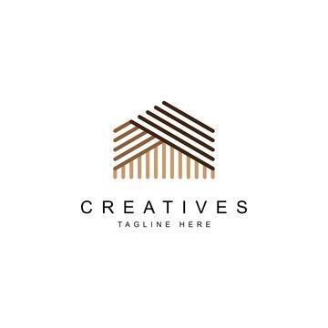 Wood house logo design symbol illustration vector template