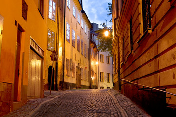 Foto auf Leinwand Stockholm street in Gamla stan, Stockholm