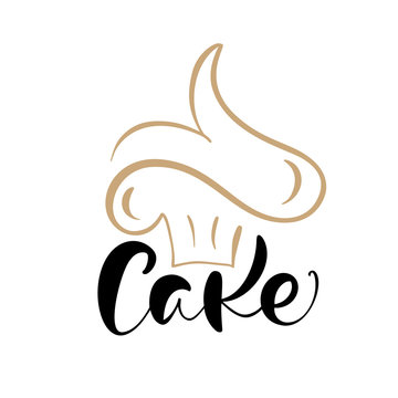 Cake vector calligraphic text with logo. Sweet cupcake with cream, vintage dessert emblem template design element. Candy bar birthday or wedding invitation