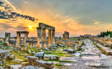 The Main Colonnaded Street at Hierapolis in Pamukkale, Turkey