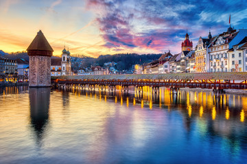 Wall Mural - Dramatic sunset in Lucerne Old town, Switzerland