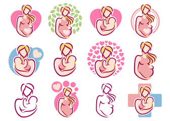 A set of Maternity logo design template, pregnancy mother baby symbol pack collection