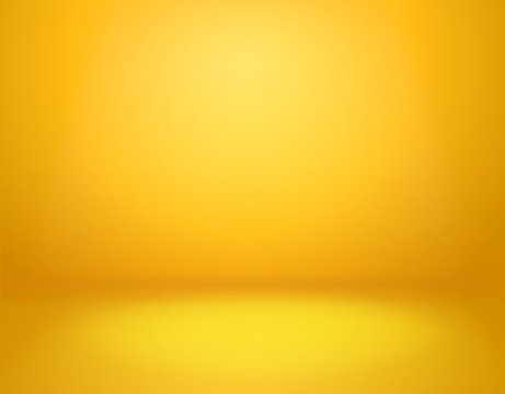 Yellow studio background. Empty vivid yellow studio room, modern workshop interior in perspective. Website wallpaper vector mockup
