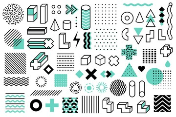 Geometric shapes. Graphic universal memphis style symbols. Lines circle, grid and points, triangle and cubes design elements vector set