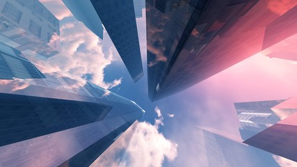 Wall Mural - Skyscrapers against the sky with clouds view from below, 3D rendering.