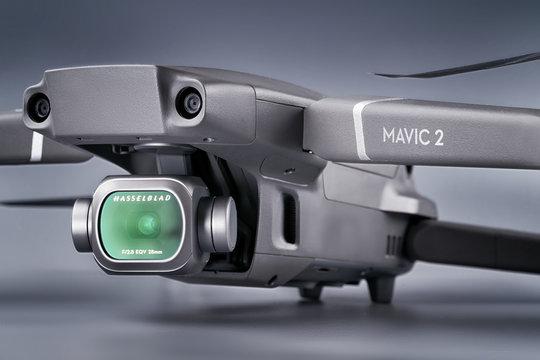 DJI Mavic 2 pro drone on gray studio background