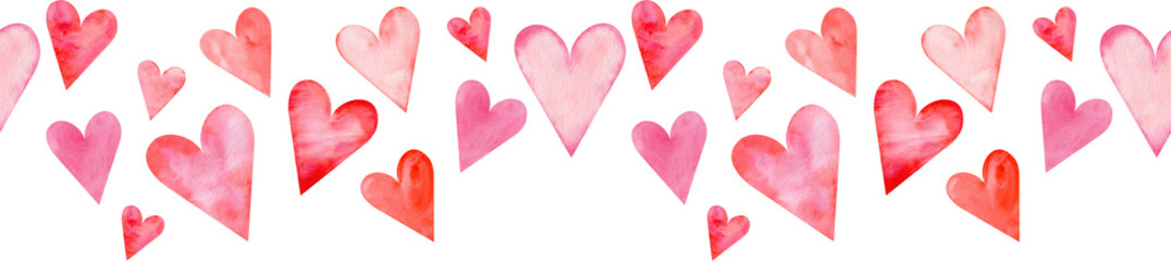 Seamless watercolor header with pink and red hearts on white background. Valentine's day border. Fototapete