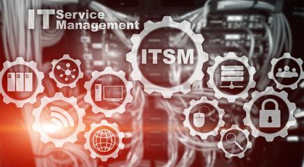 ITSM. IT Service Management. Concept for information technology service management on supercomputer background.
