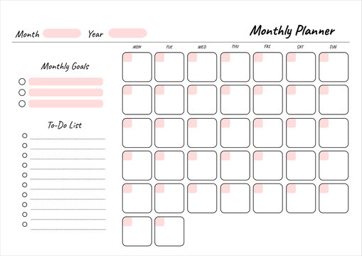 Monthly planner printable template Vector. Blank white notebook page A4