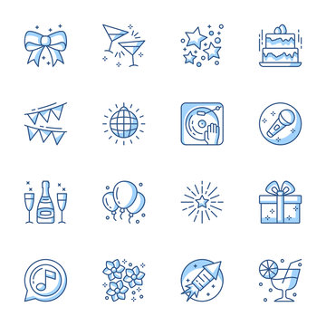 Party linear icons set. Entertainment and recreation contour symbols isolated pack. Karaoke, disco, banquet pictograms. Holiday present, social event thin line illustrations collection