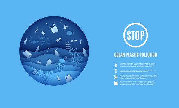 World Ocean Day, stop ocean plastic pollution banner. View of the underwater world through the porthole of a submarine in paper cut style. Vector papercut wave, tropical marine life in round frame.