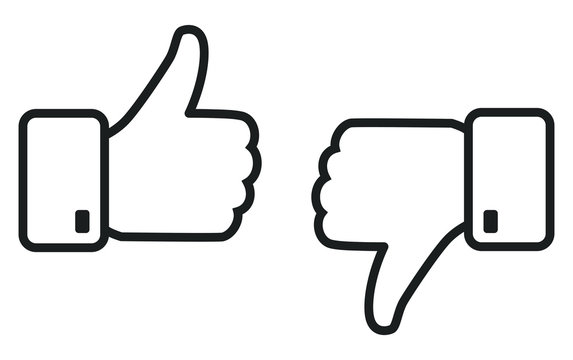 Thumb up and down outline icon isolated on white background. Like and dislike social network pictograms isolated on white background. Outline positive and negative buttons for a website or mobile app.