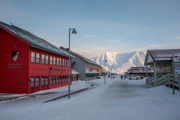 Longyearbyen, Svalbard in Norway - March 2019: Longyearbyen city center with Longyearbyen Lokalstyre House.