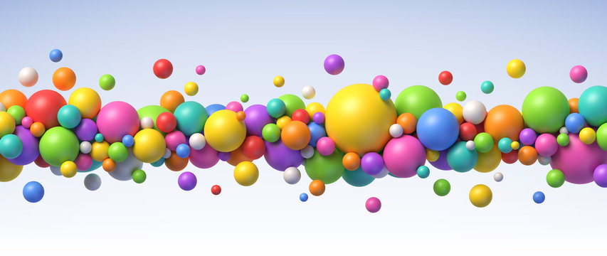 Multicolored flying balls of different sizes vector background