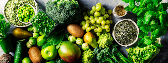 Variety of Green Vegetables and Fruits on the grey background, banner size Wall mural