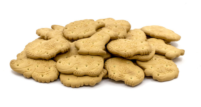 Crispy animal shaped cookies on white isolated background_