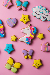 Collection of various glazed gingerbread cookies