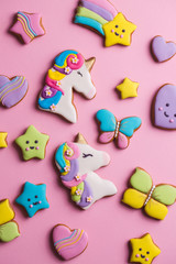 Collection of glazed gingerbread cookies