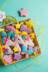 Collection of various glazed gingerbread cookies in a gift box