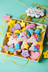 Collection of various glazed cookies in a gift box