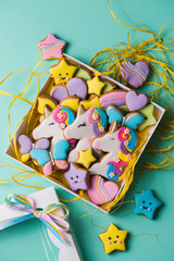 Collection of various gingerbread cookies in a gift box