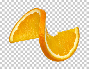 Twisted orange slice on checkered background including clipping path