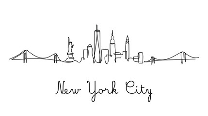 One line style New York City skyline. Simple modern minimaistic style vector. Fotobehang