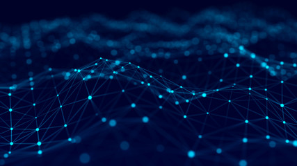 Aluminium Prints Fractal waves Big data visualization 3D. Technology blue wave. Analytics representation. Digital background. 3d rendering.