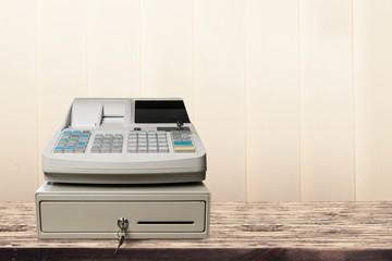 Fototapete - Cash register with LCD display on desk