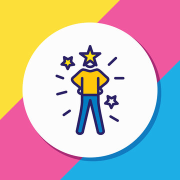 Vector illustration of self-confidence icon colored line. Beautiful emoticon element also can be used as success icon element.