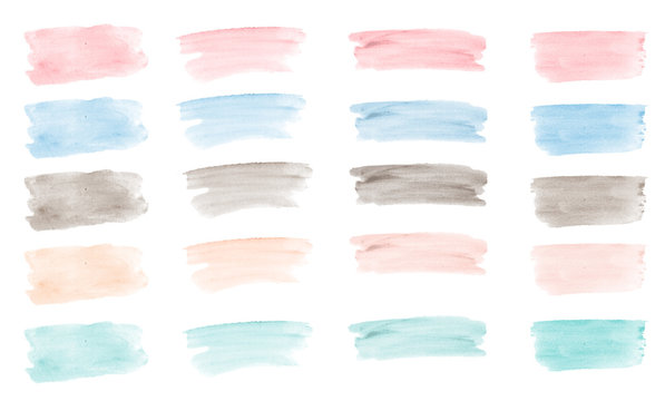 20 pastel watercolor brush strokes isolated on white