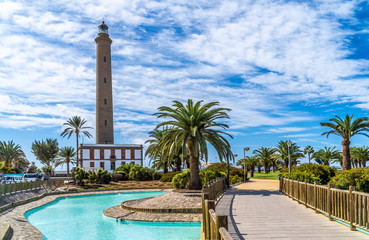 Wall Mural - Landscape with Maspalomas Lighthouse, Grand Canary, Spain