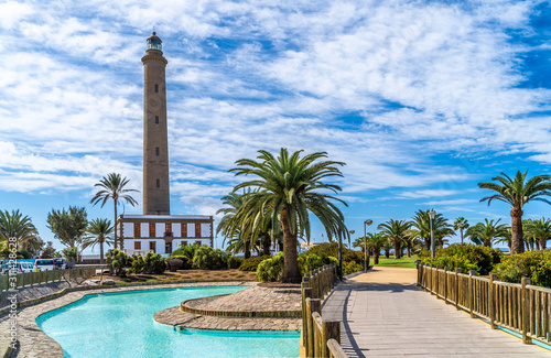 Wall mural Landscape with Maspalomas Lighthouse, Grand Canary, Spain