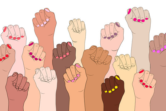 Female hands on a white background. A symbol of the feminist movement, struggle and resistance. Vector illustration concept of International women feminism. Female fingers with manicure isolated.