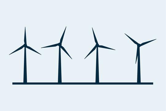 Wind vector turbine icon. Wind power energy turbine silhouette illustration tower windmill
