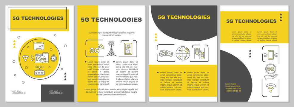 5G technologies brochure template. Flyer, booklet, leaflet print, cover design with linear icons. High-speed connection. Vector page layouts for magazines, annual reports, advertising posters