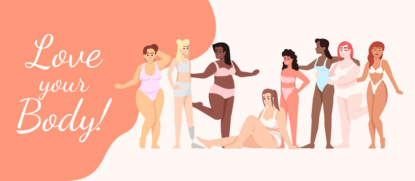 Love your body flat poster vector template. Women dressed in swimsuits cartoon characters on white and orange. Smiling ladies. Banner, brochure page, leaflet design layout with place for text