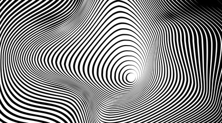 Optical illusion art abstract vector stripped background.