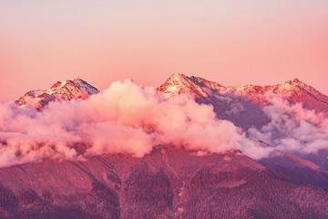 Foto auf Acrylglas Hochrote Caucasus mountains at sunset time. Sochi. Russia.