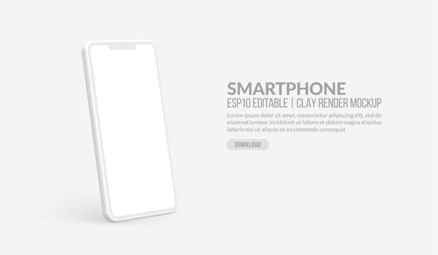 Smart phone mockup with blank screen, Clay render template for app development and UX/UI design