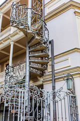 Fototapete - old town Tbilisi design building house facede stylish steel staircase Georgia capital city eastern Europe