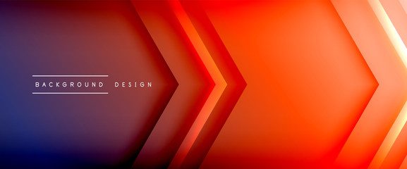 Arrow lines, technology digital template with shadows and lights on gradient background. Trendy simple fluid color gradient abstract background with dynamic straight shadow lines effect