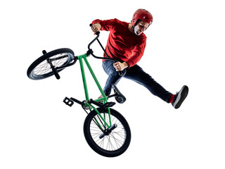 one young caucasian man BMX rider cyclist cycling freestyle acrobatic stunt in studio isolated on white background
