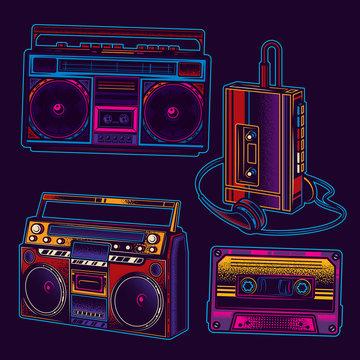 Original vector music set in retro style. Boombox, music player, audio cassette.