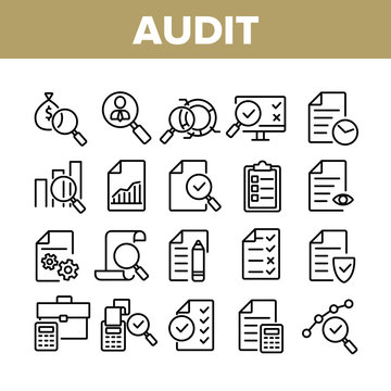 Audit Finance Report Collection Icons Set Vector Thin Line. Financial Audit Document File, Bag With Money, Calculator And Cash Register Concept Linear Pictograms. Monochrome Contour Illustrations