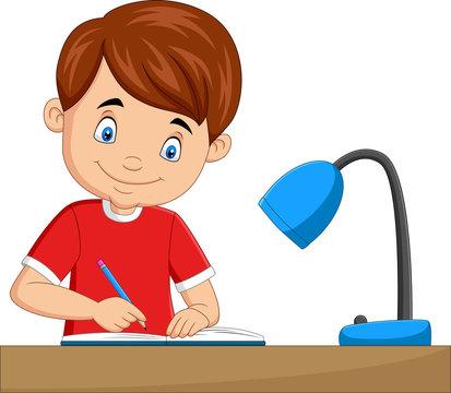 Cartoon little boy studying on the table