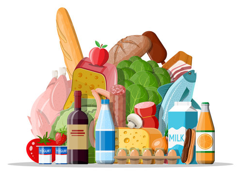 Groceries set. Grocery store collection. Supermarket. Fresh organic food and drinks. Milk, vegetables, meat, chicken cheese, sausages, wine fruits, fish cereal juice. Vector illustration flat style