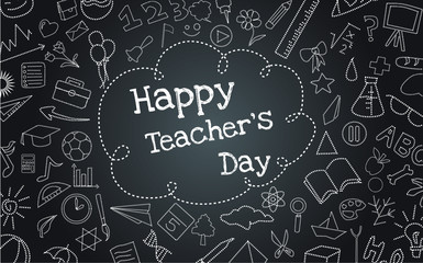 Happy Teacher's Day dash line vector on a black background Fotomurales
